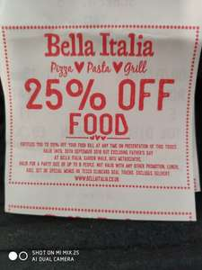 25% Off Your Food Bill *Pizza* *Pasta* or *Grill* @ Bella Italia (With Odeon Cinema Receipt)