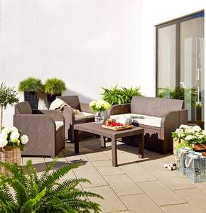 Ebeltoft / Keter Carolina 4 peice brown rattan garden lounge set £150 @ JYSK (free c&c)