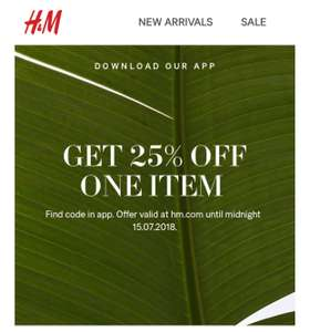 25% off one item including sale using code 6123 @ H&M using app.