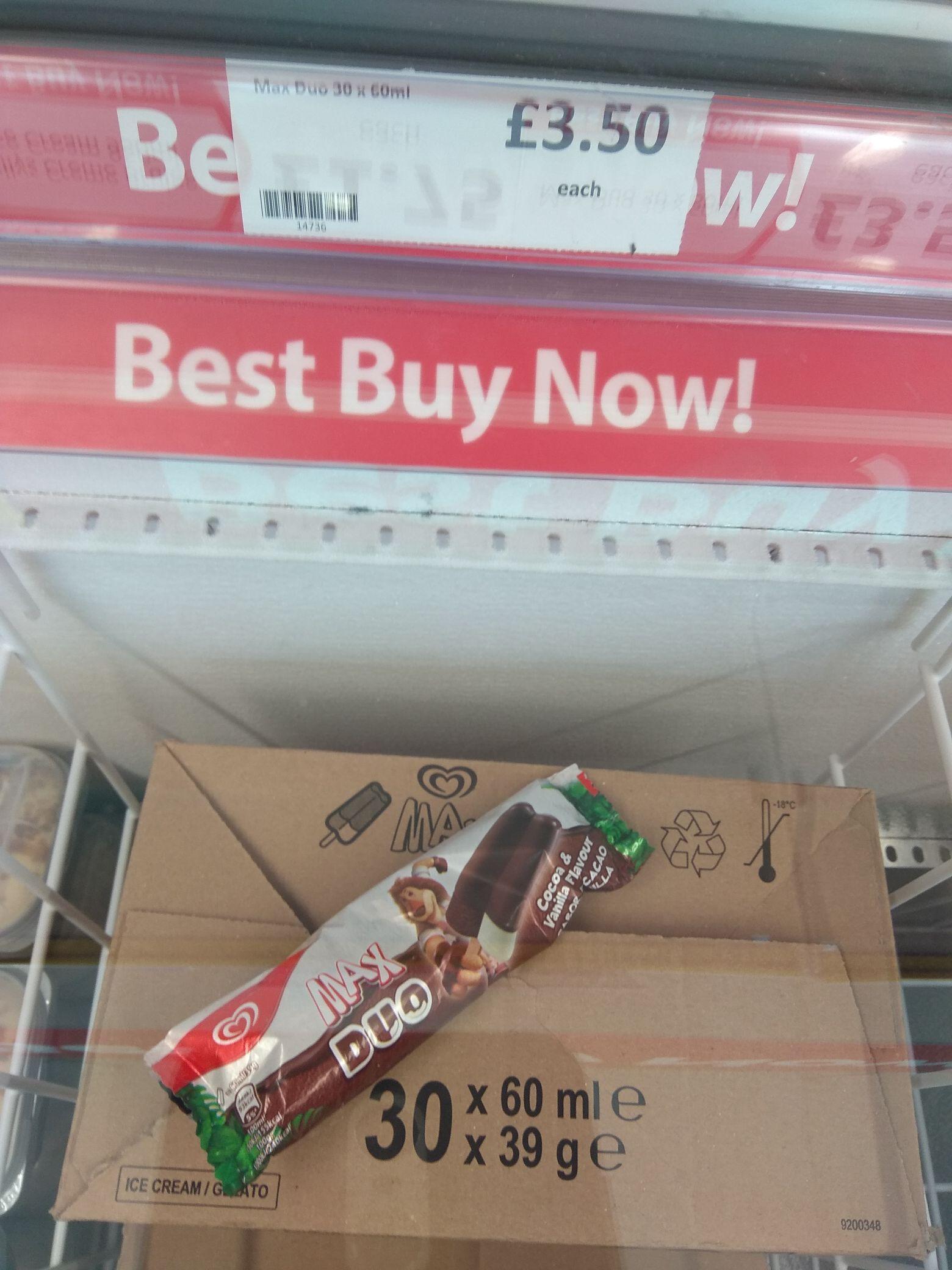 30 x Walls Max Duo Cocoa & Vanilla ice creams 60ml - £3.50 @ Heron Foods