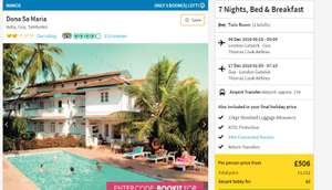 Goa 7 nights B&B with Thomas Cook on 9th December @ £481 PP based on 2 Adults @ Thomas Cook