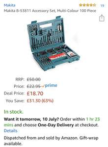 Makita B-53811 100 Piece Drill and Screwdriver Bit Accessory set £18.70 Prime £23.19 Non Prime  @ Amazon