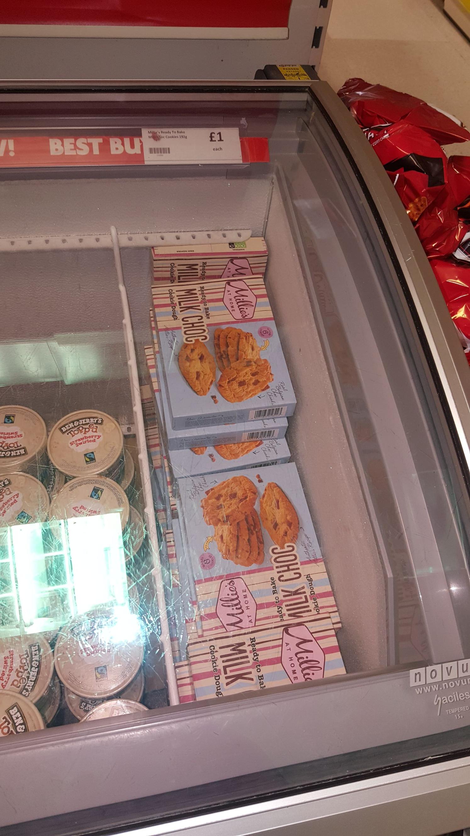 Millie's ready to bake  Milk Choc Cookies - 6pk - £1 instore @ Heron Foods