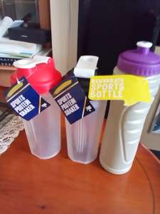 Quality Protein shaker and water bottles at Poundland