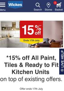 15% off All Paint, Tiles and Ready to Fit Kitchens @ Wickes