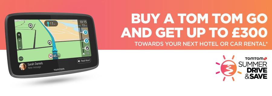 £150 hotel or car rental voucher when buying £159.99 TomTom sat-nav @ Amazon