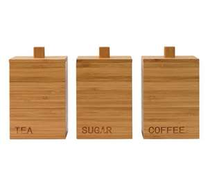 HOME Olsy Set of 3 Wooden Storage Jars - £12.49 @ Argos (C&C)