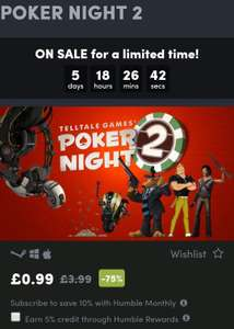 Poker Night 2 on Steam/Mac for 0.99p on sale @ Humble Bundle