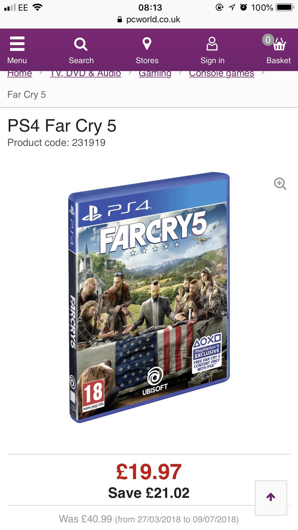 Far Cry 5 PC World XB1 £19.97 at PC World