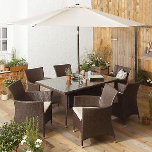 Tesco Corsica 8 Piece Glass Tabletop Rattan Garden Dining Set (Brown) £300 barmybargains / Ebay