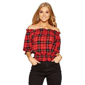 Quiz - Red and black check bardot top  £4.99 +£3.49 del at DEBENHAMS