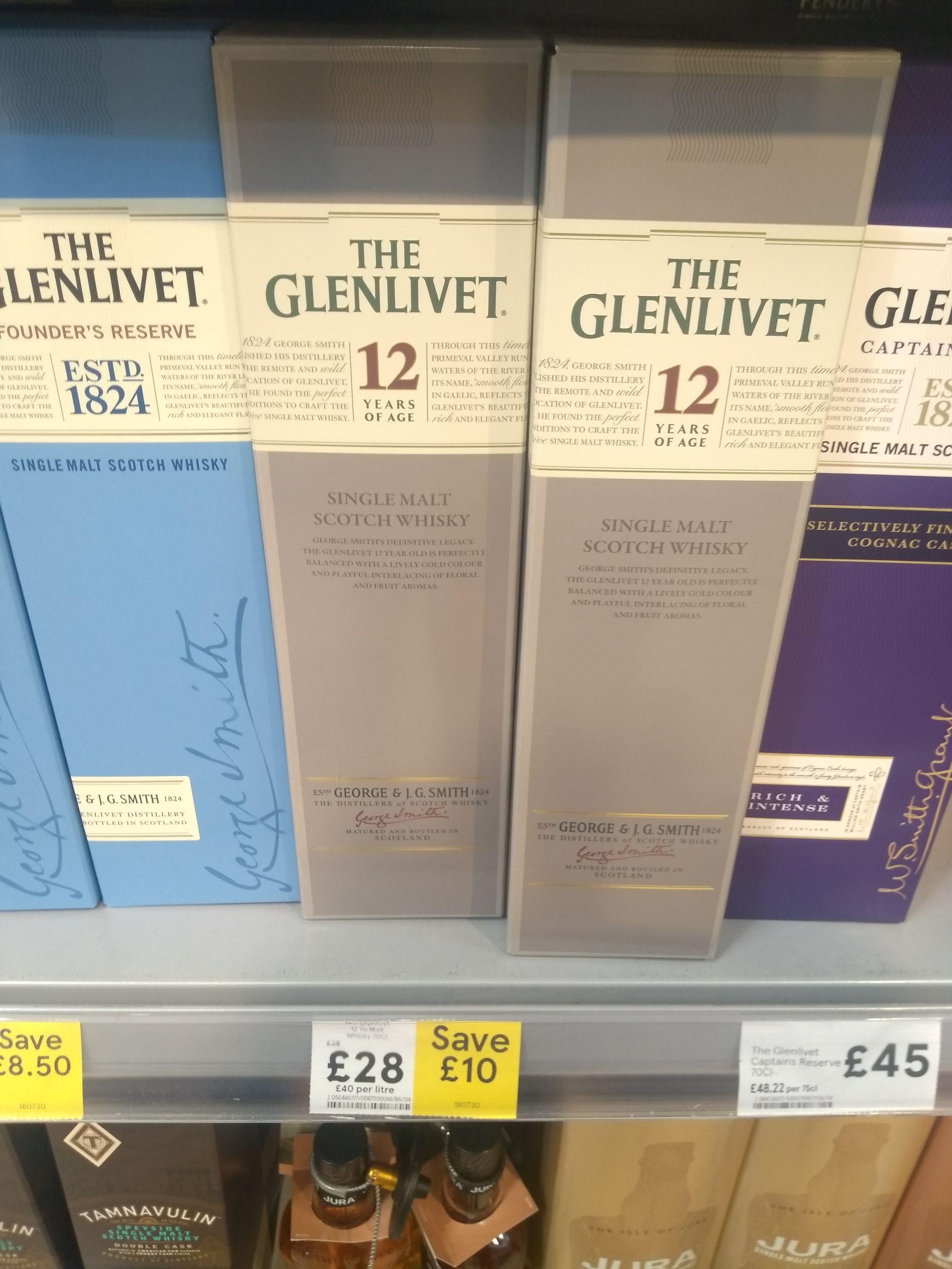 Glenlivet 12yr old malt scotch whisky 70cl £28 @ tesco