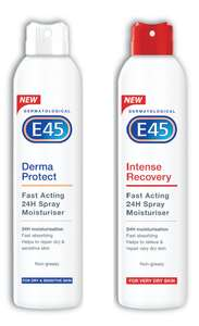 Three Pack of E45 Derma Protect or Intense Recovery Moisturiser Sprays - £13.99 Delivered @ Groupon
