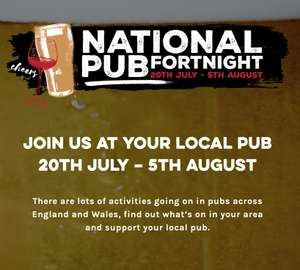 NOW LIVE | 50,000 Free Drinks Available for National Pub Fortnight