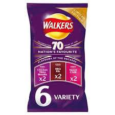 Walkers 70 Years Limited Edition (1980s, 90s & 00s) Variety Crisps (6 Pack) @ Heron Foods  70p