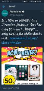 One Direction Makeup Tins for only 50p @ Poundland