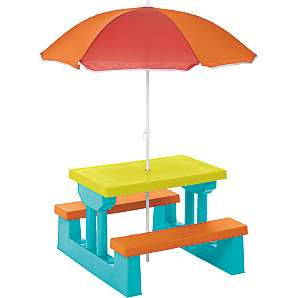 Kids Table and Bench Set including Parasol £29 / Kids 4 Piece Patio Set £20 / Kids Large Folding Table and Bench £40 / Kids Swing Seat £32 @ George Asda