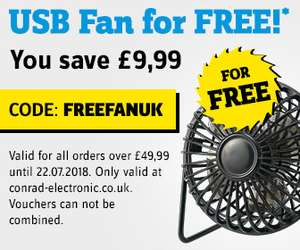 Free USB Fan with all orders over £49.99 with code @ Conrad Electrical
