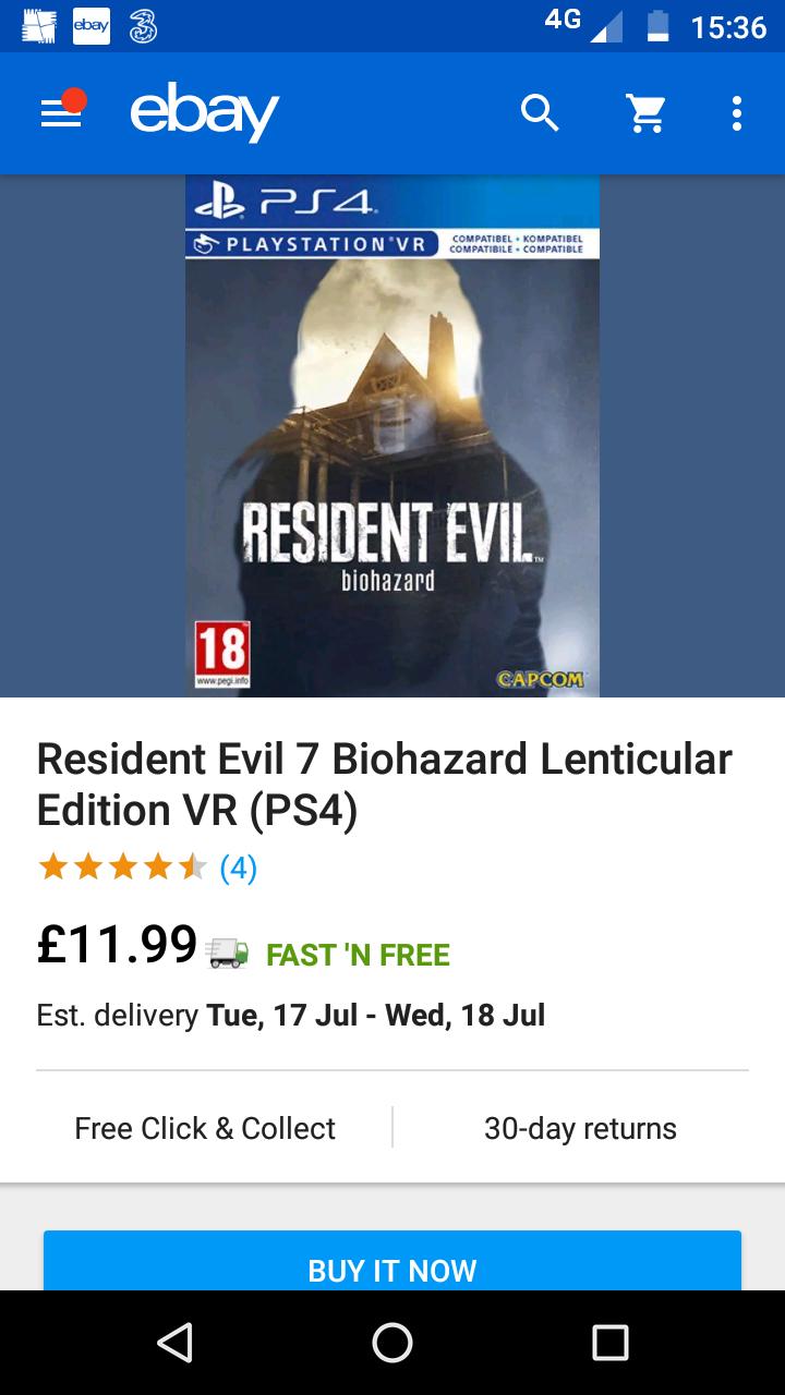 Resident evil 7 biohazard ps4 - £11.99 @ Boomerangrentals / eBay