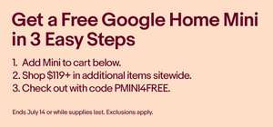 Free Google Home Mini @ US eBay (with a $119 spend)