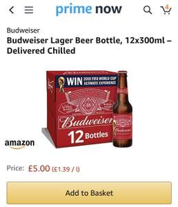 12 x 300ml Budweiser £5 Amazon Prime Now (£3.99 delivery)