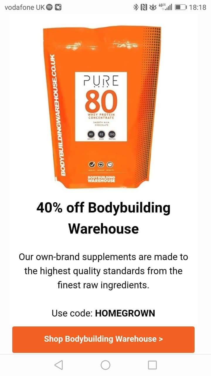 40% Bodybuilding Warehouse own brand supplements.