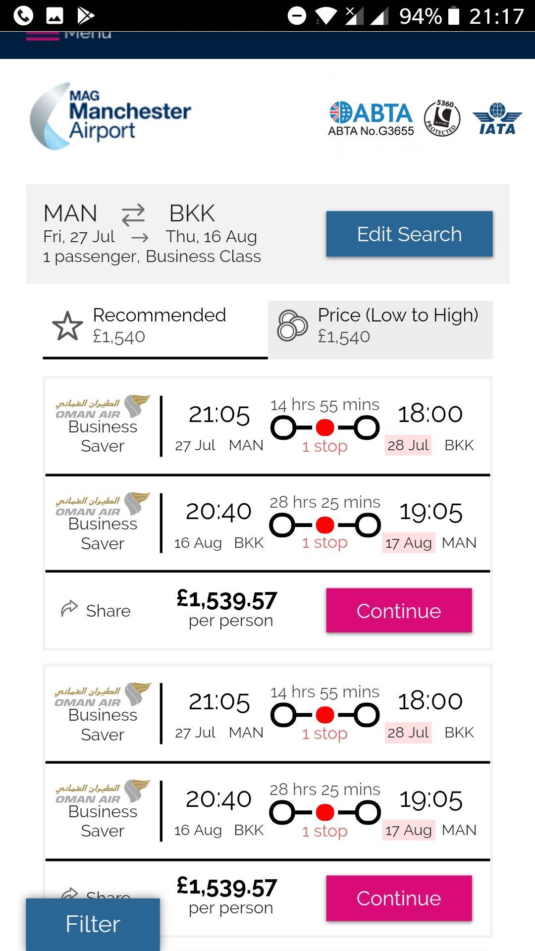 Oman Air Business Class, Manchester - Bangkok, under £1540pp, Mcr Airport Website