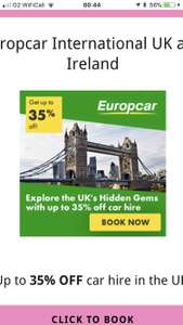 Up to 35% off car hire at Europcar