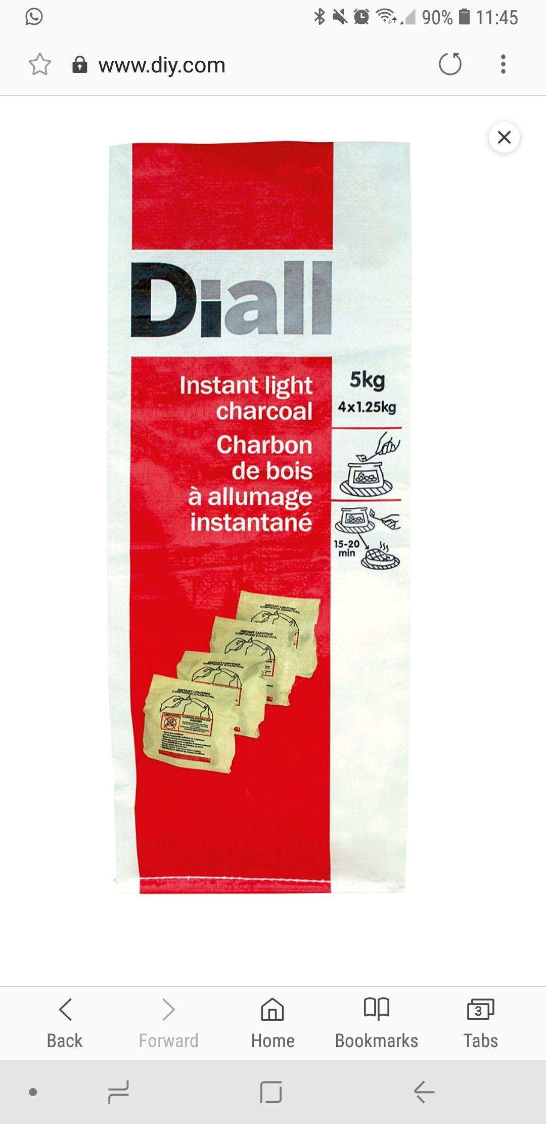 Diall instant light charcoal 4 x 1.25  kg - £3 @ B&Q