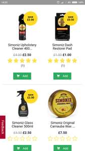 Simoniz products reduced at Wilko