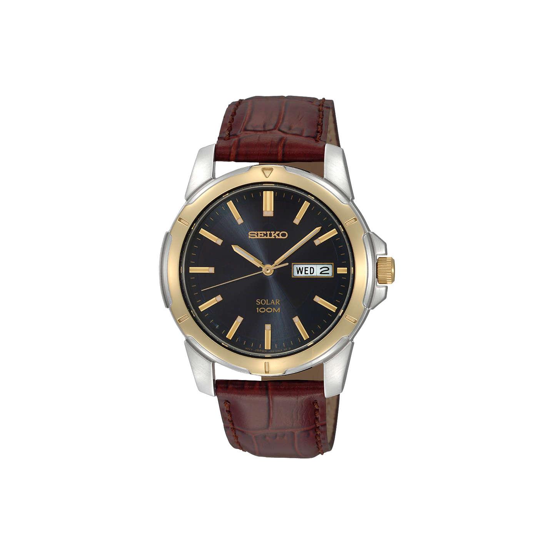 Seiko SNE102P9 Men's Solar Day Date Leather Strap Watch, £84.50 @ John Lewis