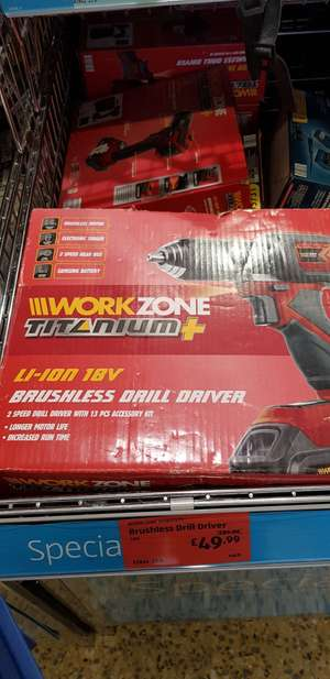 18v brushless drill with accessories - £49.99 @ ALDI