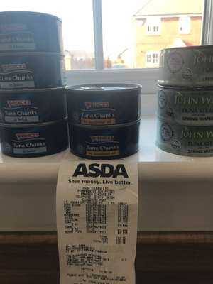 Princess tuna chunks in brine or sunflower 160g tins from £1.60 to 0.63p Asda