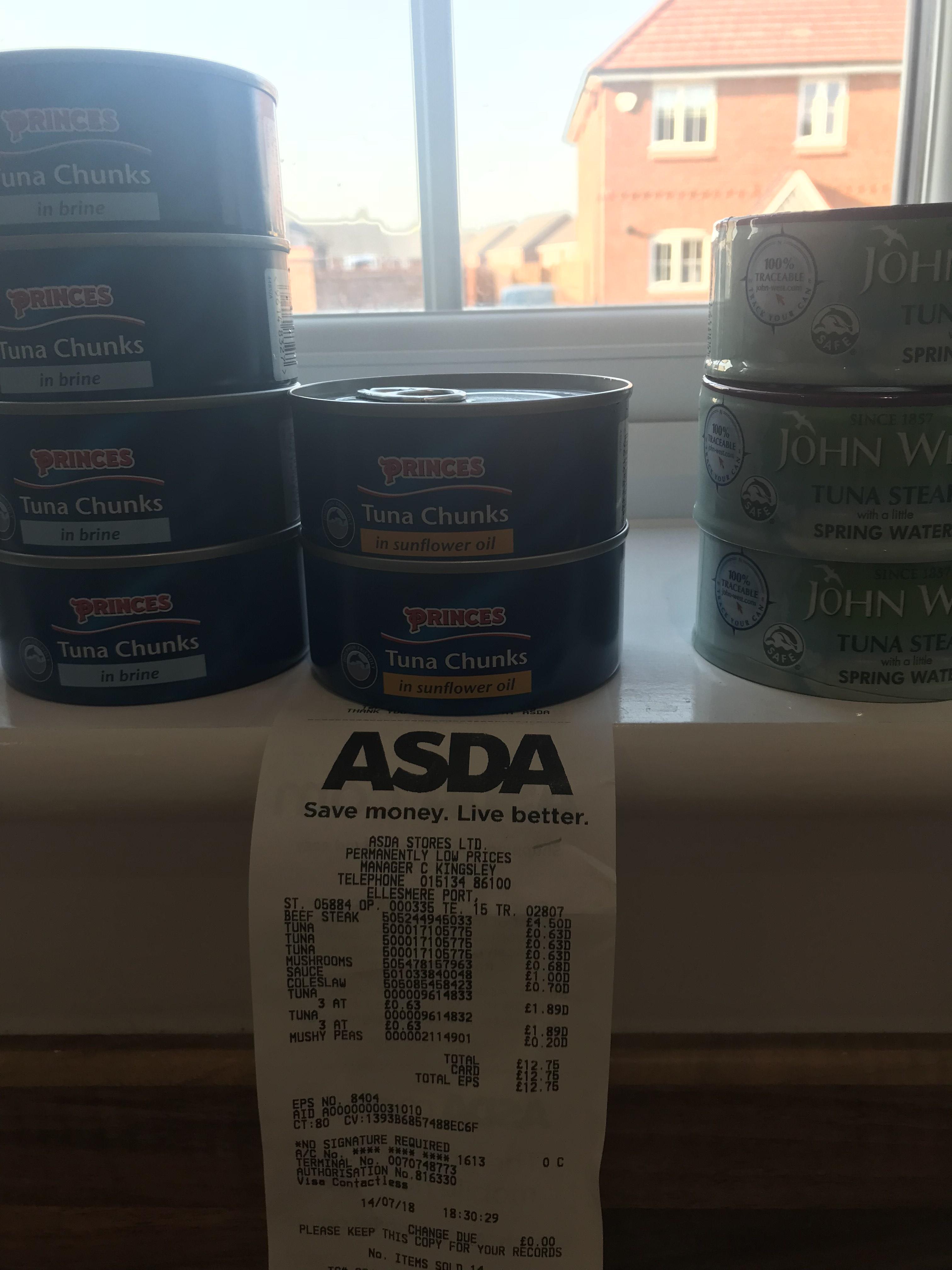 John west tuna steak in brine sunflower oil or spring water 0.63p from £1.49 Asda