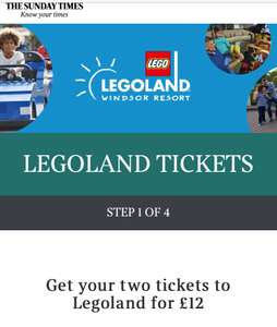 2 Legoland Tickets for £12 - Collect Tokens in The Times