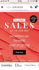 Up to 25% off on Benefit, Makeup Forever, bareminerals & Urban Decay at Feel Unique