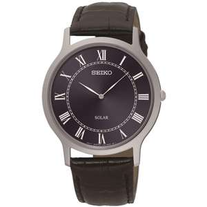 Seiko Solar SUP867P1 Men's Navy Blue Dial Black Leather Strap Watch £64.99 @ H samuel