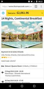 From Manchester: Partly School Hols 23 August Florida 2 Weeks, Flights, Luggage, Hotel & Car Hire £515.49pp @ Thomas Cook