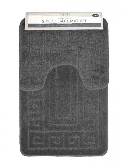 2 piece greek key design bath mat set : charcoal ( choice of 8 other colours ) now £4.99 @ Poundstretcher