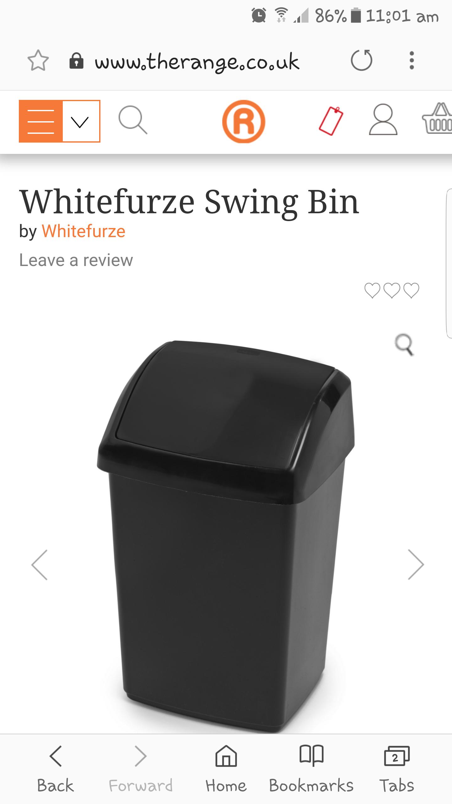 50l swing bin £9.99 - the range