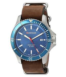 Swiss Made Wenger Seaforce 01.0641.121 Quarts Men's Brown Leather Strap Watch £80 @ H Samuel