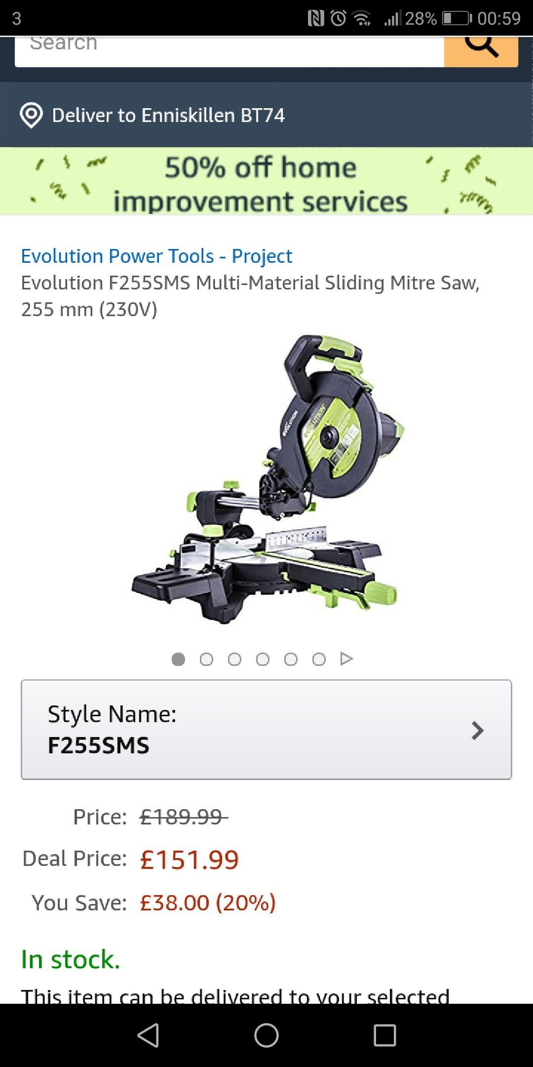 Amazon Deal Evolution F255SMS Multi-Material Sliding Mitre Saw, 255 mm (230V) £151.99 Amazon Lightning deal