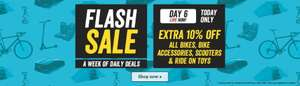 HALFORDS FLASH SALE TODAY ONLY extra 10% off all BIKES  SCOOTERS RIDE ON TOYS & ACCESSORIES  including reduced  items @ halfords