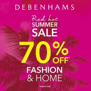 Debenhams Red Hot Summer Sale Event Now Live - eg 15% off Beauty Icons / up to 70% Off Fashion / 20% Off School Uniform