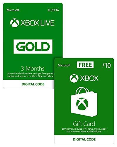 Xbox Live 3 Month Gold Membership + £10 Credit FREE - £14.99 - Amazon