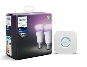 Philips Hue White and Colour Ambiance Bulb Twin Pack with Bridge, B22, 10 W [Energy Class A+] £79.99 Amazon Prime