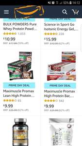 Maxi Muscle Protein Bars Maximuscle Promax High Protein Bar, Millionaire Shortbread 12 Pack £9.99 - Amazon prime day deal