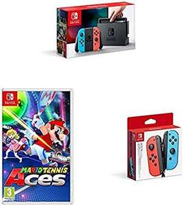 Nintendo Switch Neon with Mario Tennis Aces + Nintendo Switch Joy-Con Controller Pair - Neon Red/Neon Blue £339 @ Amazon prime / lightning deal
