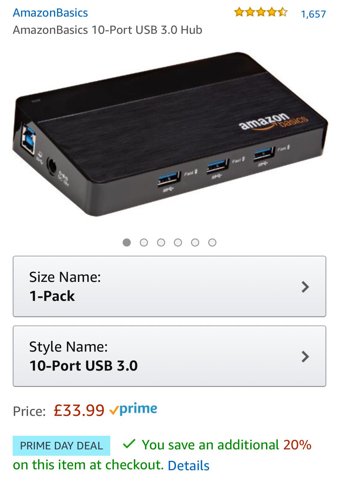 Amazon 10 port usb hub 3.0 £20.39 amazon prime day deal