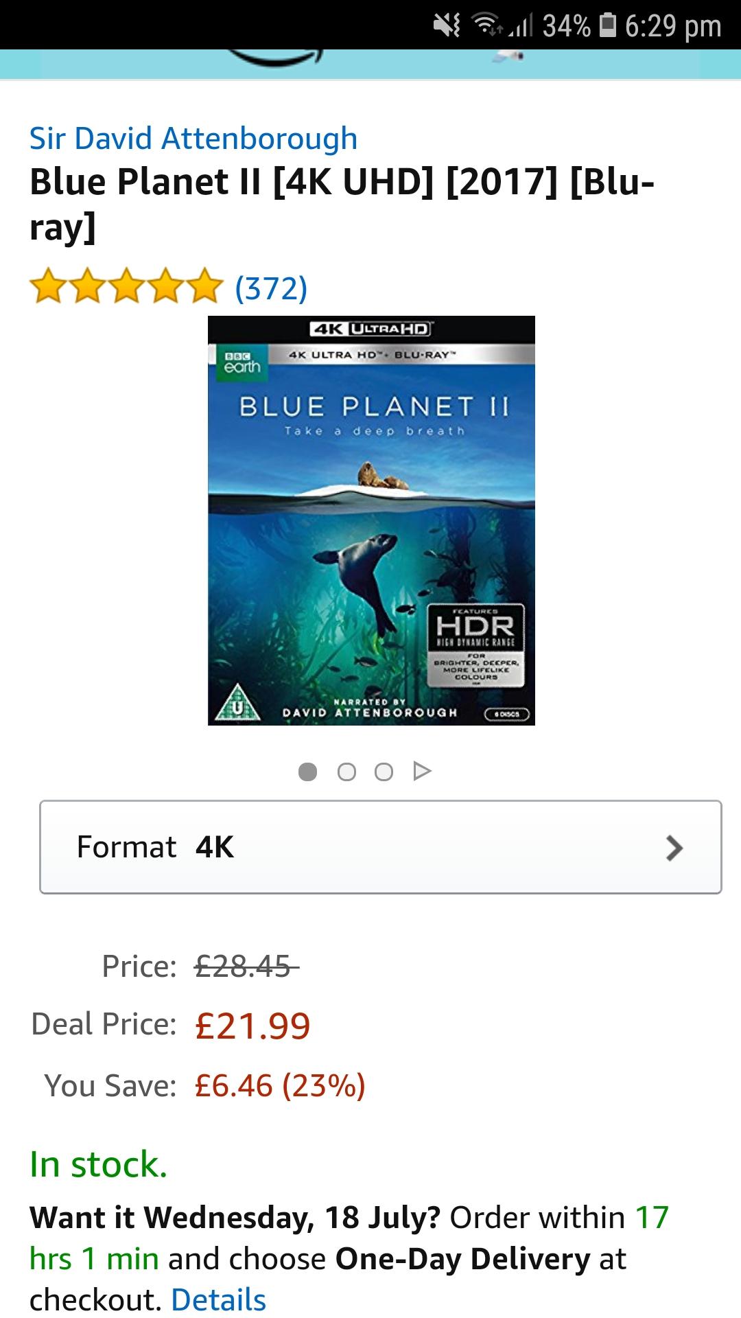 Blue planet 2 4k @ amazon prime day lightning deal. - £21.99